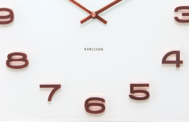 Copper and White Square Wall Clock by Karlsson
