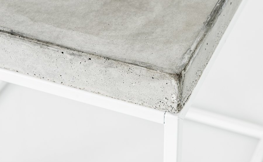 Ultra Minimalist White Steel And Concrete Topped Coffee Table, Stool, Or  End Table By