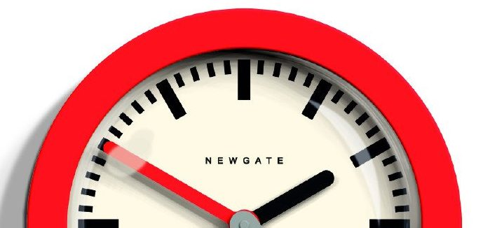 Detail of the bold red minimalist Andromeda wall clock by Newgate