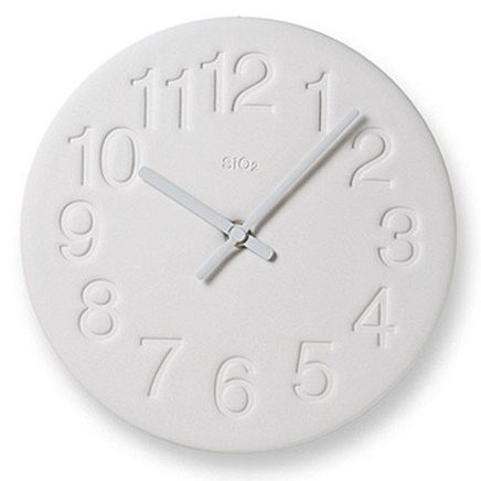 """Clay """"Earth"""" Wall Clock in Minimalist Matte White by Lemnos"""