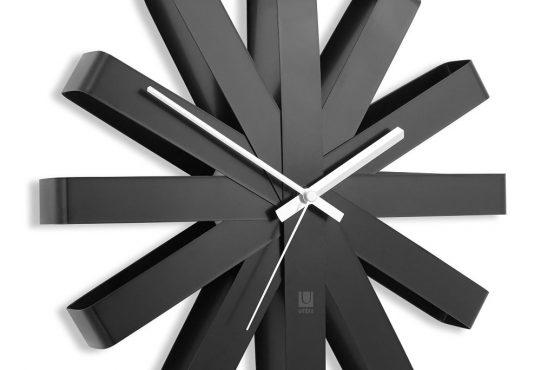 "Black And White Wall Clock minimalist black ""ribbon"" wall clockumbra | mnml living"