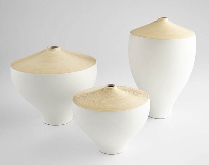 "Unique Modern Ceramic Matte White and Tan ""Inez"" Vases, by Cyan Design"
