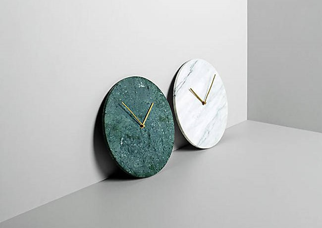 Marble Wall Clock in Carrara White or Verde Guatemala Green by Menu
