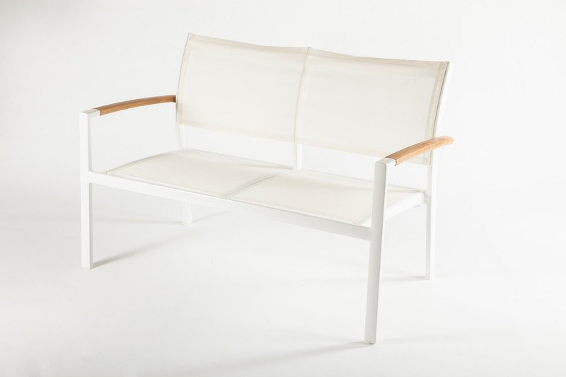 Rhodes Minimalist White Outdoor Loveseat with Wood Accents by BD Mod