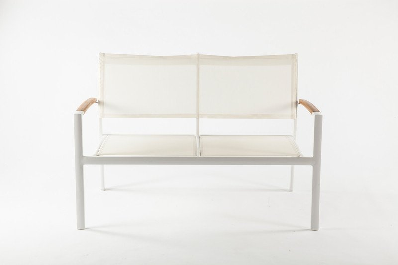 "Outdoor Fabric ""Rhodes Loveseat"" Bench, in White by BD Mod"