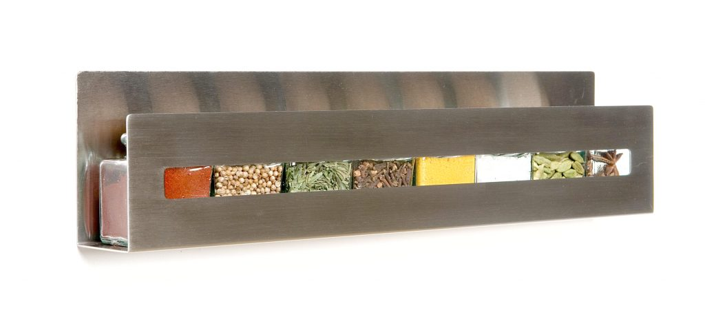 """Aperture"" a minimalist stainless steel spice shelf by Desu Design"