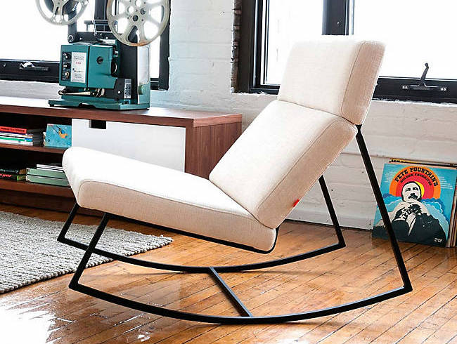 Contemporary Rocking Chair, GT Rocker in Minimalist White and Black