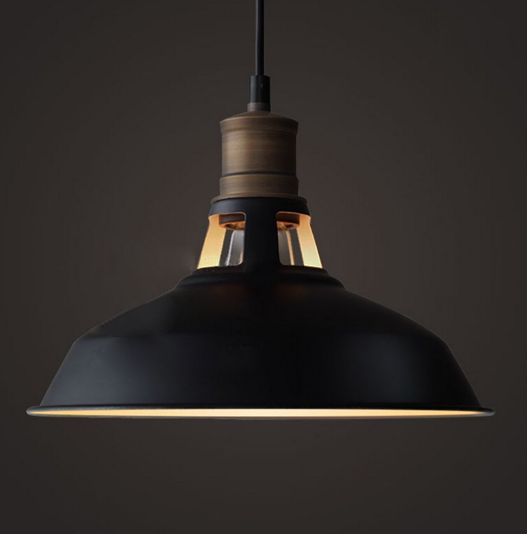 Black Industrial Minimalist Hanging Pendant Light by CLAXY