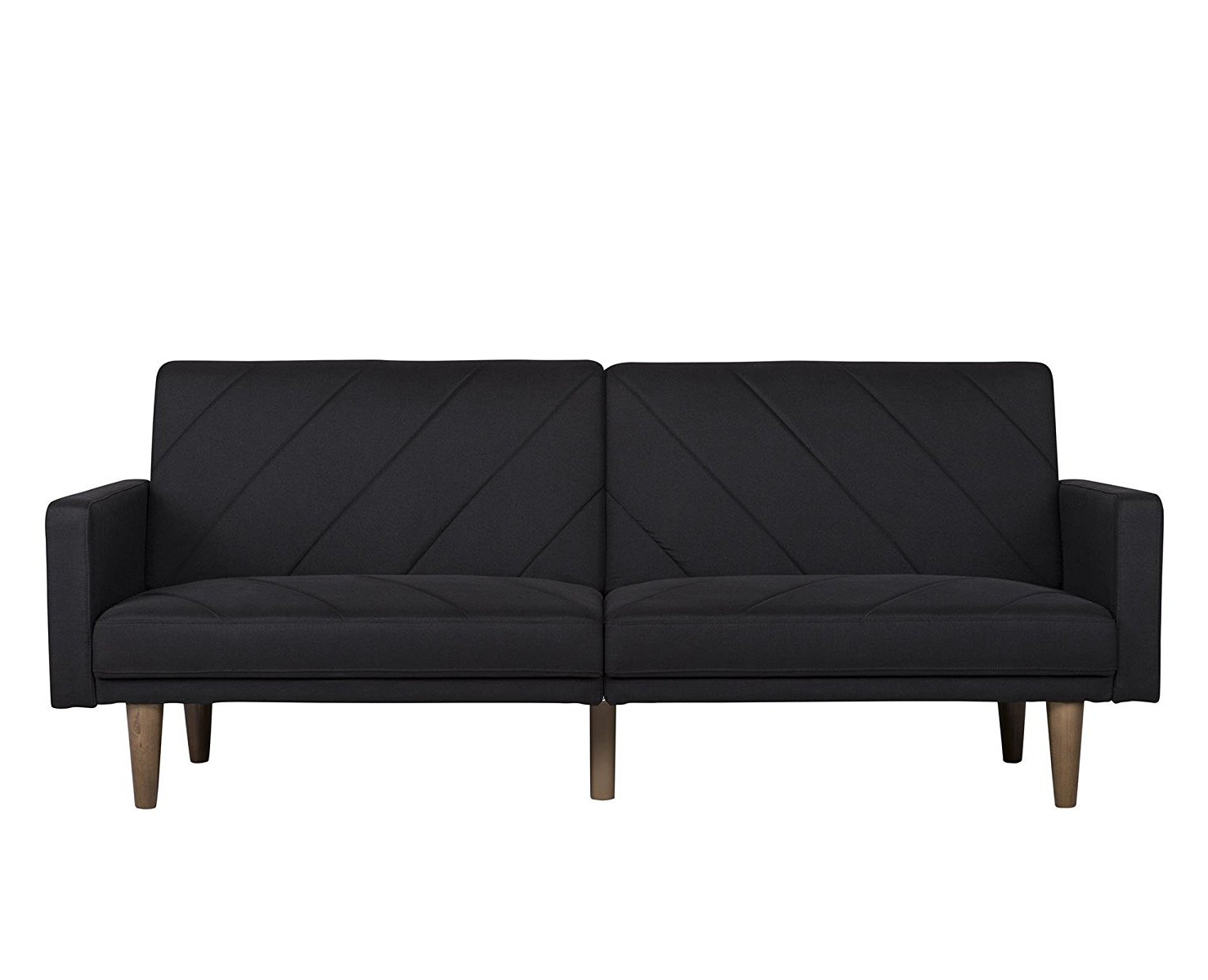 Linen Futon Couch With Retro Wood Legs