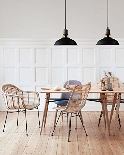 Black Minimalist Hanging Pendent Lights for Industrial or Midcentury Modern Dining Room & Kitchens