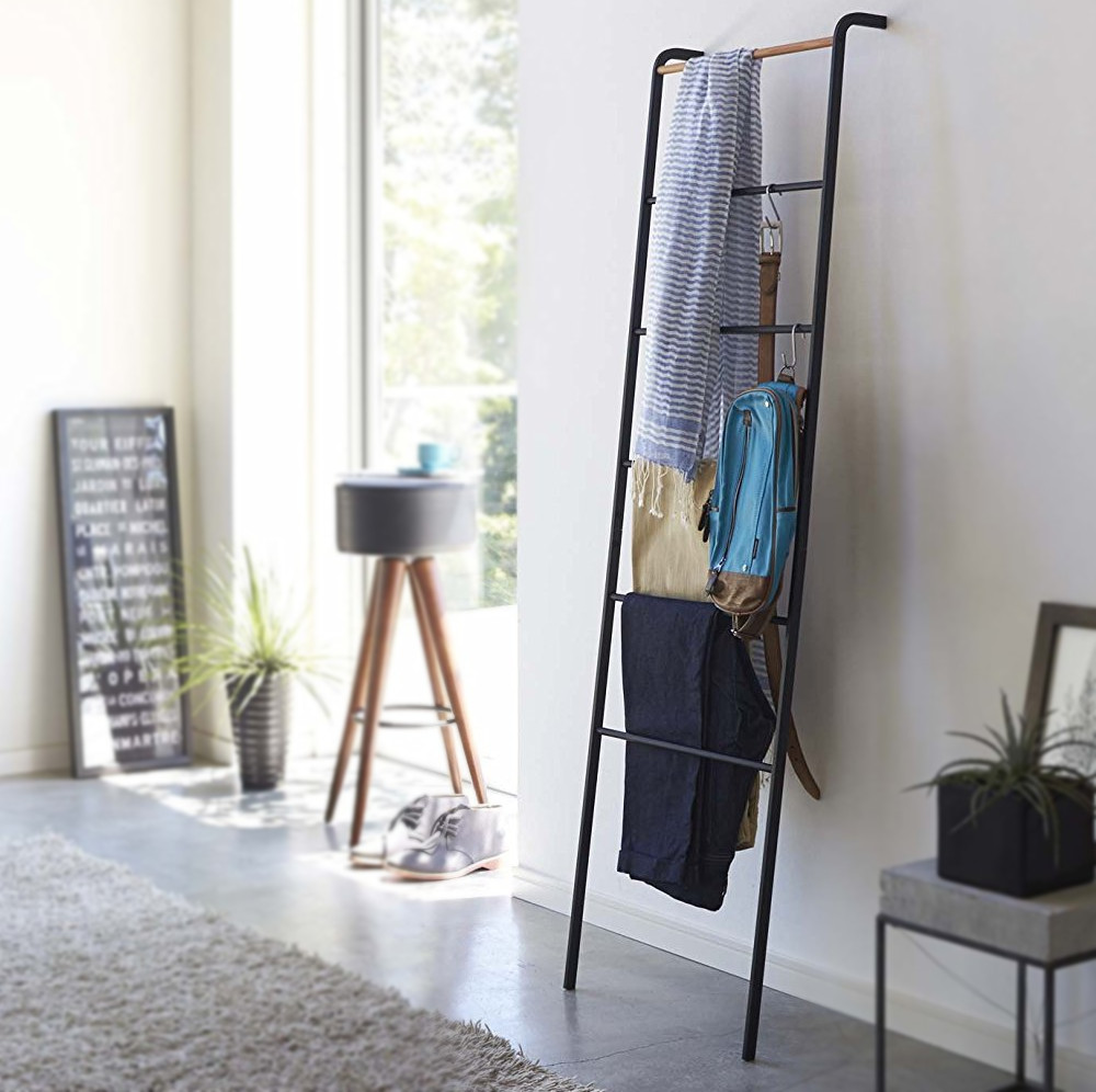 Tall Minimalist Home Leaning Ladder Rack, Metal and Wood by Yamazaki