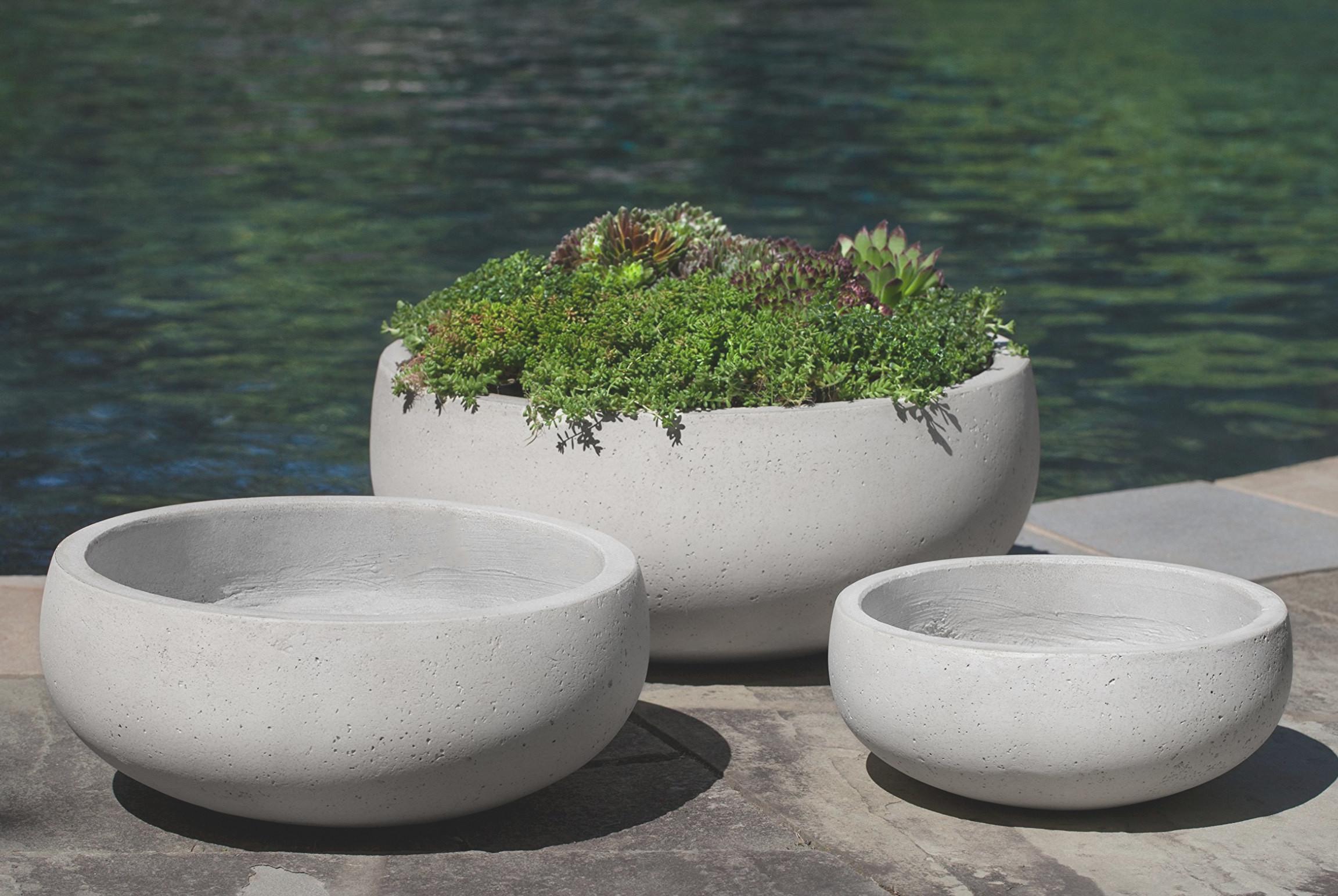 Large Round Rio Bowl Minimalist Gray Outdoor Concrete Garden Pots